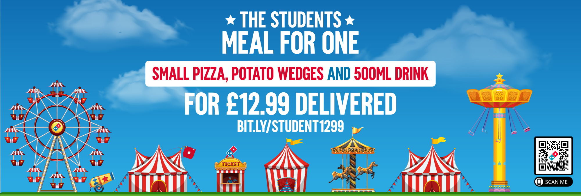 STUDENTS MEAL FOR ONE: SMALL PIZZA, POTATO WEDGES, AND 500ML DRINK for £12.99 delivered.