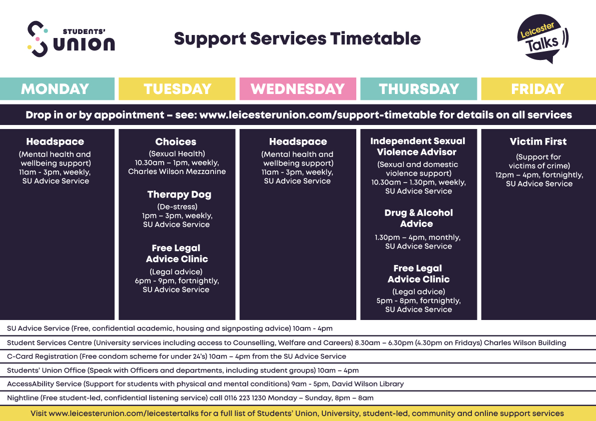 Support Services Timetable