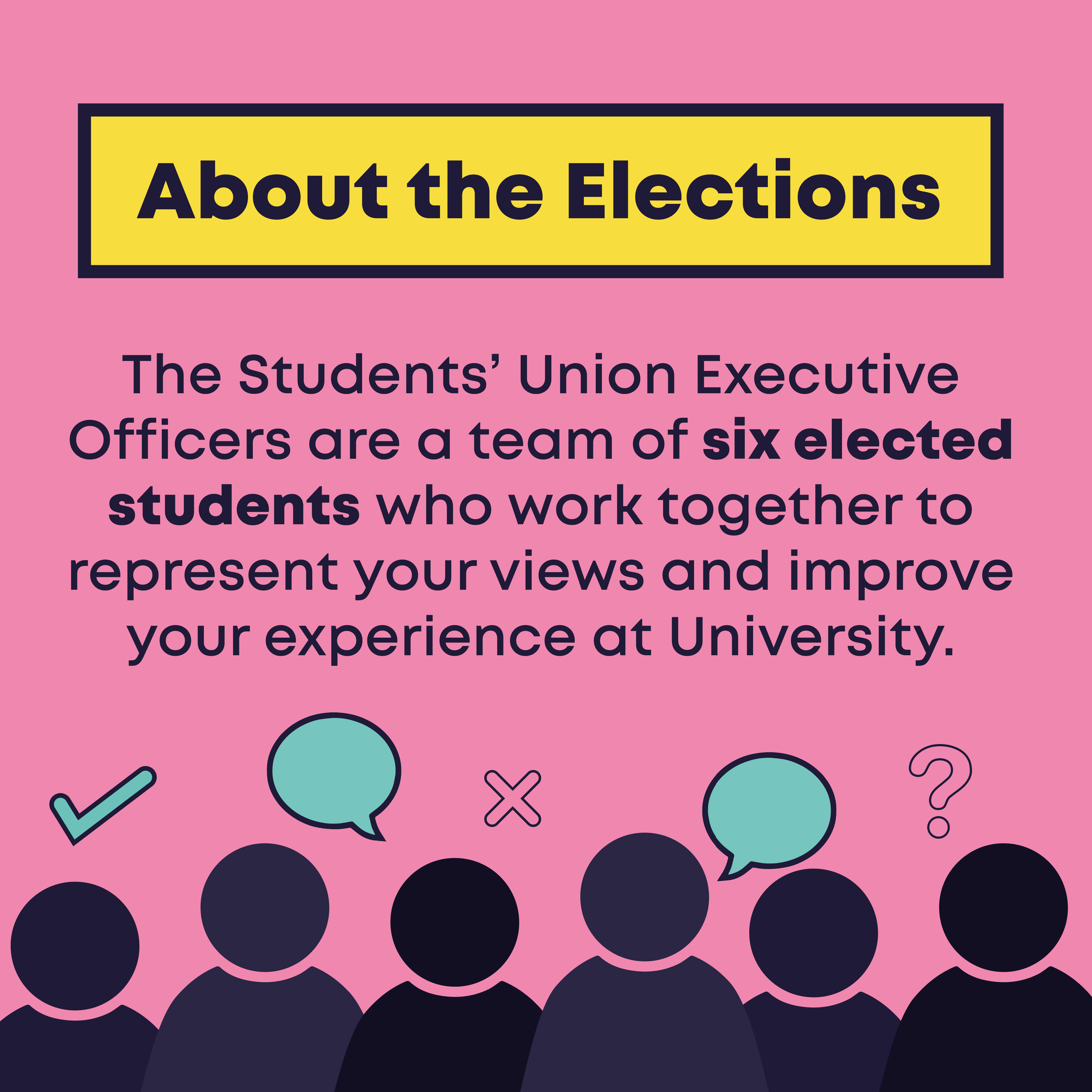 About the Elections. The Students' Union Executive Officers are a team of six elected students who work together to represent your views and improve your experience at University.